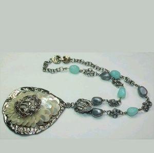 Vintage aqua marine, sequin, MOP necklace PM 463